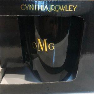 Cynthia Rowley Black OMG coffee mug